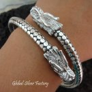 Sterling Silver Double Head Dragon Bangle SBB-295-PS