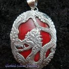 925 Silver Dragon & Red Coral Pendant SP-346-KT