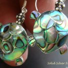 925 Silver Paua Abalone Shell Turtle Earrings ER-164-KA