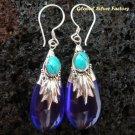 Silver & Synthetic Amethyst Teardrop Earrings SJ-181-KT