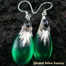 Silver Green Quartz (syn) & Onyx Earrings SJ-189-KA