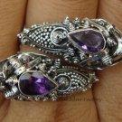 925 Silver Amethyst Double Snake Head Ring RI-156-KT