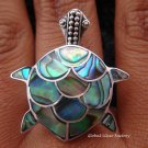 Sterling Silver Paua Abalone Shell Turtle Ring RI-117-NY