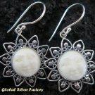 Silver Carved Bone Goddess Earrings GDE-562-NY