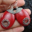 Sterling Silver Red Coral Earrings ER-108-KA
