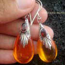 925 Silver Garnet & Synthetic Amber Teardrop Earrings SJ-100-KT