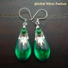 Silver & Synthetic Green Quartz Earrings SJ-185-KT