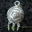 Silver & Peridot Dangle Beads Chime Ball Pendant CH-226-KT