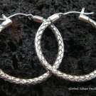 925 Silver 27mm Rope Design Hoop Earrings SE-131-KT