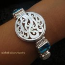 925 Silver Multi Gems & Carved Shell Bracelet SBB-313-KT
