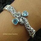 Bali Design 925 Silver & Blue Topaz Bracelet SBB-312-KT