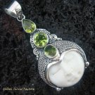 925 Silver Three Peridot Goddess Pendant GDP-845-KT