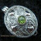 925 Silver & Peridot Locket Pendant LP-170-PS
