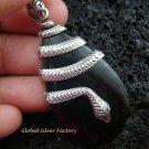 925 Silver Black Shell Snake Pendant SP-411-NY