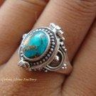 925 Sterling Silver Turquoise Locket Ring LR-532-KT