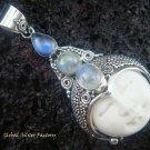 925 Silver Three Moonstone Goddess Pendant GDP-843-KT