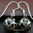 Sterling Silver Black Filigree Chime Ball Earrings CBE-131-KA