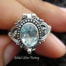 925 Silver Blue Topaz Locket Ring LR-517-KT