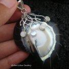 925 Silver White & Black Shell Pendant SP-404-KT