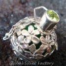 925 Silver Peridot Frangipani Harmony Ball Pendant HB-233-KT