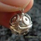 925 Silver Teardrop Pattern Chime Ball Pendant 12mm CH-185-KT