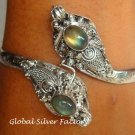 Silver Labradorite Double Snake Head Bangle SBB-205-KA