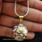 Silver Gold White Filigree Chime Ball Pendant 19mm CH-199c-NM