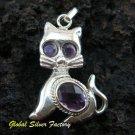 925 Silver Amethyst Cat Pendant SP-341-KT