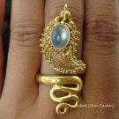 925 Silver & 22kt GP Moonstone Snake Ring GPR-119-NY