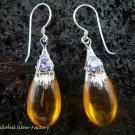 Silver Amethyst & Synthetic Amber Teardrop Earrings SJ-101-KT