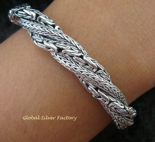 925 Silver Borobudur & Dragon Bone Twisted Bracelet SBB-328-PS