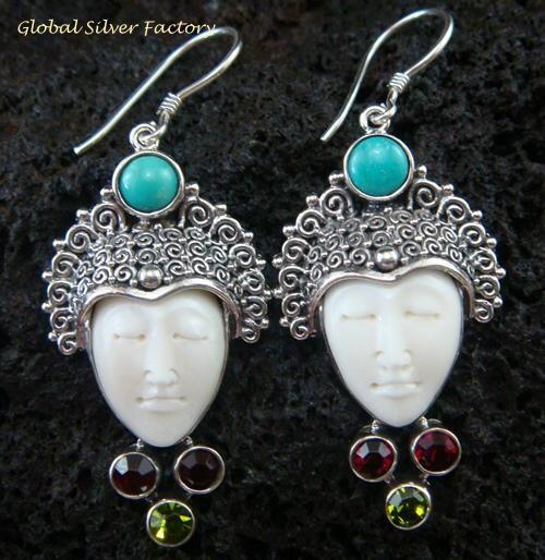 Silver & Mixed Gem Goddess Earrings GDE-912-KA