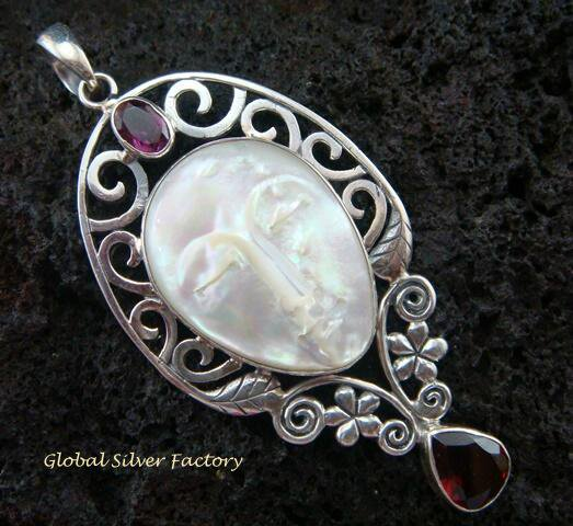 Sterling Silver Carved Shell Goddess Pendant GDP-918-KT