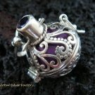 925 Silver & Amethyst 18MM Harmony Ball Pendant HB-295-KT