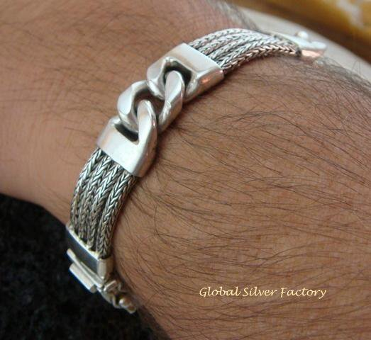 925 Silver Triple Dragon Bone Men's Bracelet MJ-118-PS