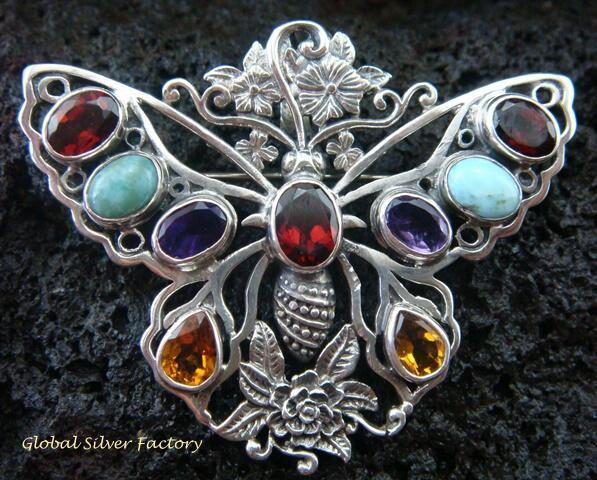 925 Silver & Multi Gems Butterfly Brooch Pendant BC-157-KT