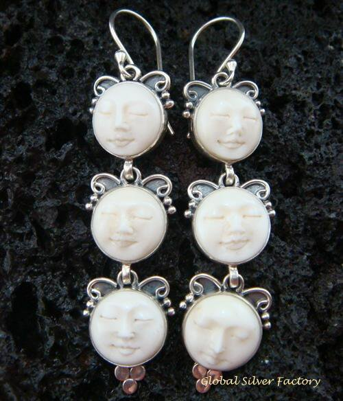925 Silver Triple Face Goddess Earrings GDE-924-NY