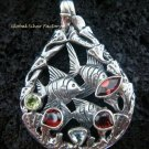 925 Silver Three Fish & Mixed Gems Pendant SP-420-KT