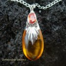 925 Sterling Silver Amber (syn) Necklace SJ-210-KT