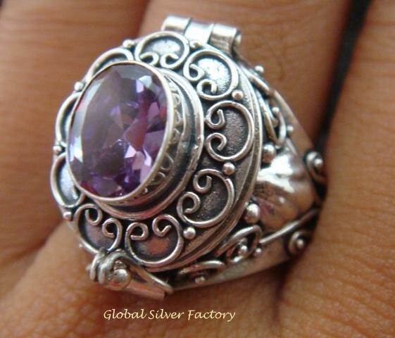 Silver & Amethyst Poison Locket Ring LR-549-KT