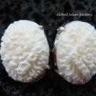 Sterling Silver Carved Flower Design Earrings ER-509-KA