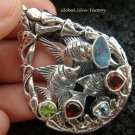 925 Silver Three Fish & Mixed Gems Pendant SP-419-KT