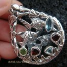 925 Silver Three Fish & Mixed Gems Pendant SP-418-KT