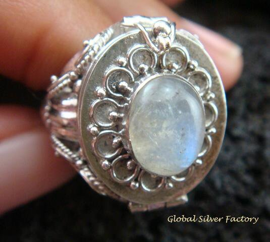 Silver & Moonstone Locket Ring LR-547-KT