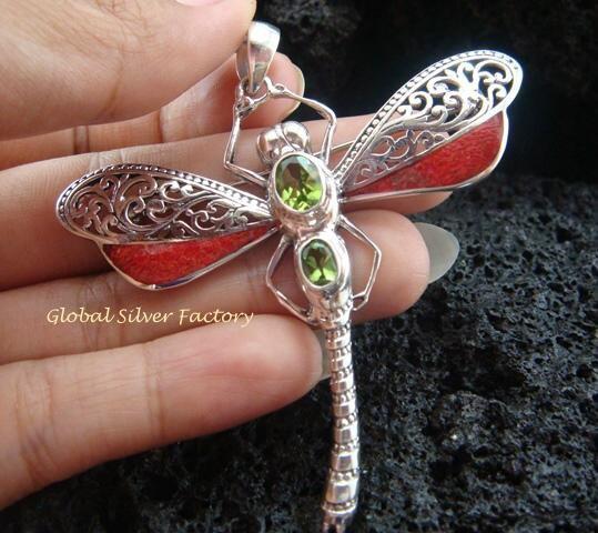 925 Silver Coral & Peridot Dragonfly Brooch Pendant BC-148-KT