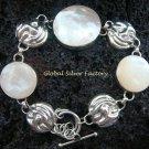 925 Silver White Shell & Faces Bracelet SBB-321-KT