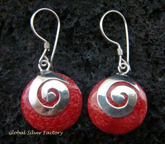 925 Silver Red Coral Spiral Design Earrings ER-505-KT