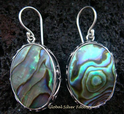 925 Silver Oval Paua Shell Designer Earrings ER-502-KT