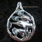 925 Silver Three Dolphins & Blue Topaz Pendant SP-415-KT