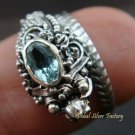 Sterling Silver & Blue Topaz Snake Ring RI-216-KA